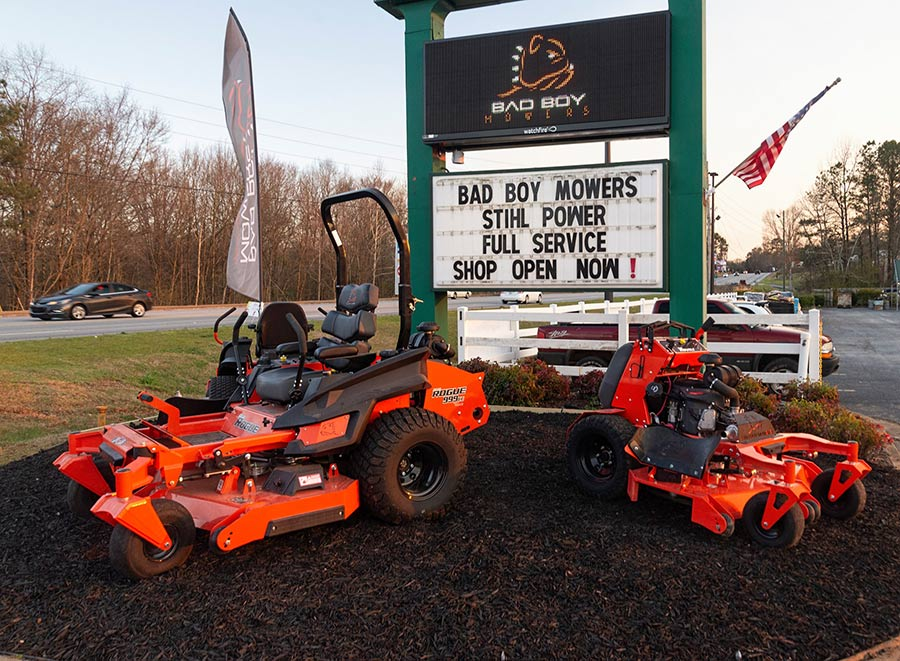 Southern Outdoor Power sales and service center features Bad Boy Mowers and STIHL power equipment.