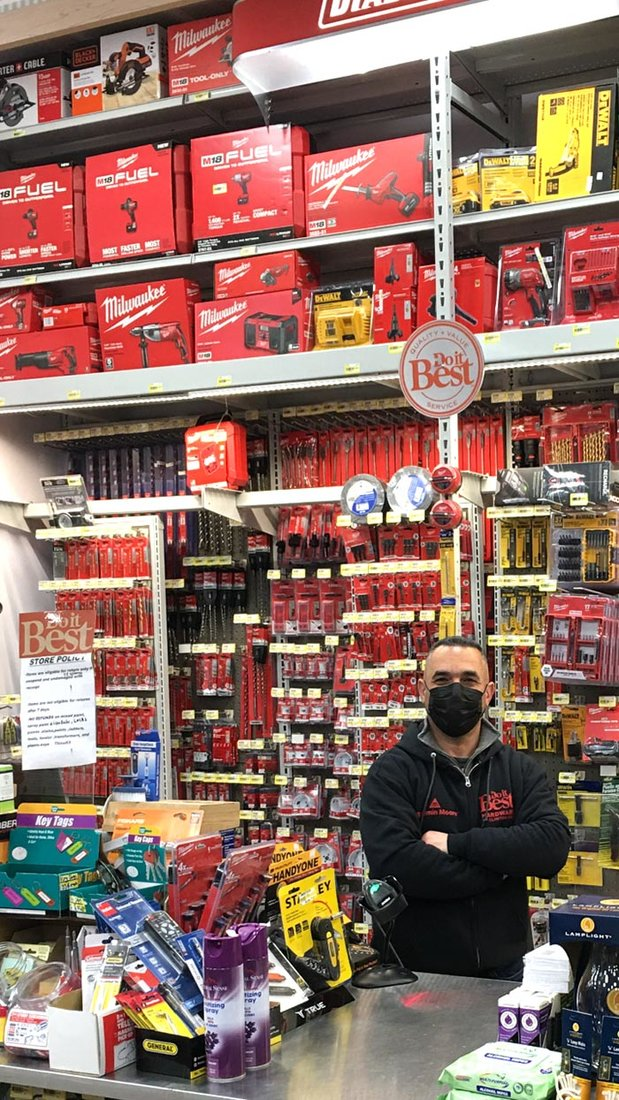 "Owner Walid ""Wally"" Abulawi is excited about the potential for the store, which merchandises hand and power tools behind the checkout counter."