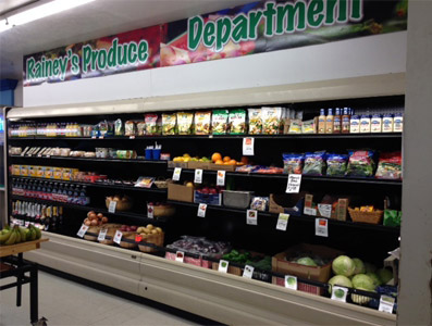 Rainey's Grocery includes a full produce department and in the back is a full-service butcher shop.