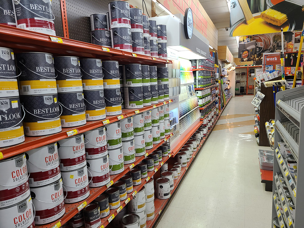 The paint department at Jerry's Do it Center has seen an uptick in business during the pandemic.