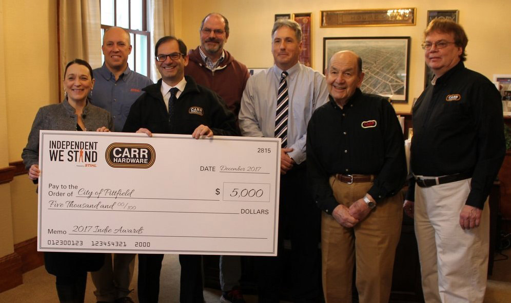 When Carr Hardware was honored as National Independent Small Business of the Year in 2017, they donated the $5,000 cash prize to a park revitalization project in Pittsfield, Mass. Marshall Raser (2nd from right) bought the business in 1962.