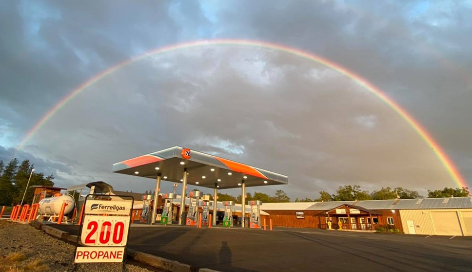 A rainbow was spotted recently over Rainey's Corner Market.