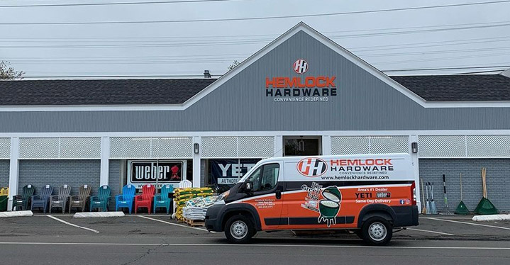 Hemlock Hardware in Fairfield, Conn., promotes always next-day delivery service, with free delivery of grills.