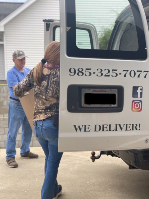 Melaco Sisters Hardware making a delivery to a customer in Cut Off, La.