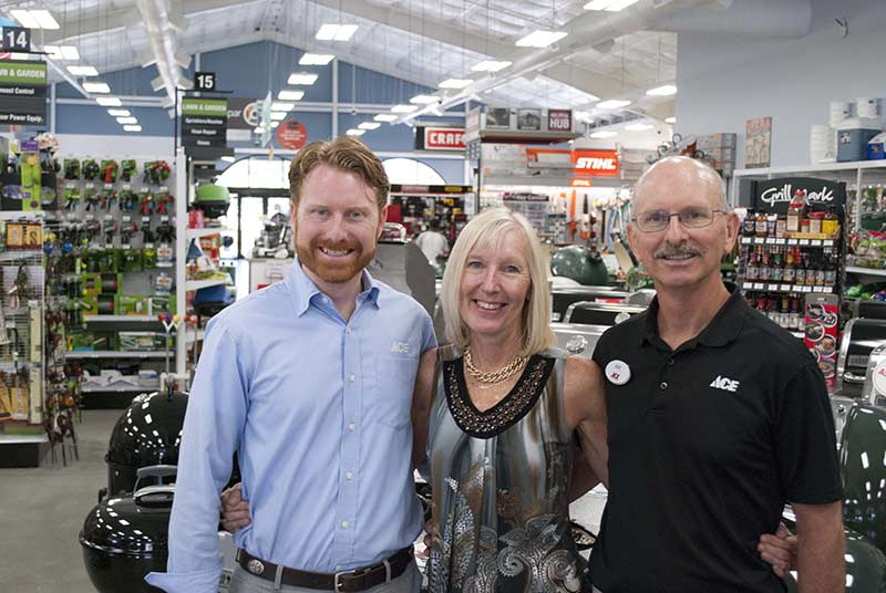 Bobby Heuser (left) and his parents Renee and Bob Heuser all left rewarding careers to open a hardware store together in 2015. They now operate two Heuser Ace Hardware stores in South Carolina.