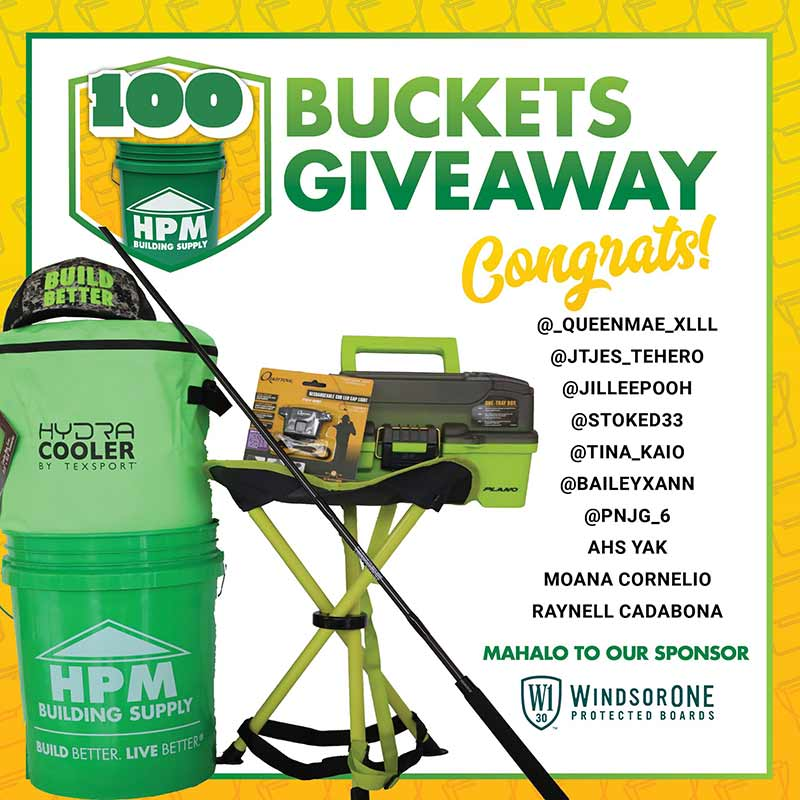 HPM is rewarding 100 customers with an HPM bucket, each filled with a $100 HPM gift card and $200 or more in sponsored gifts and/or merchandise. Ten lucky winners are announced every month from January through October.