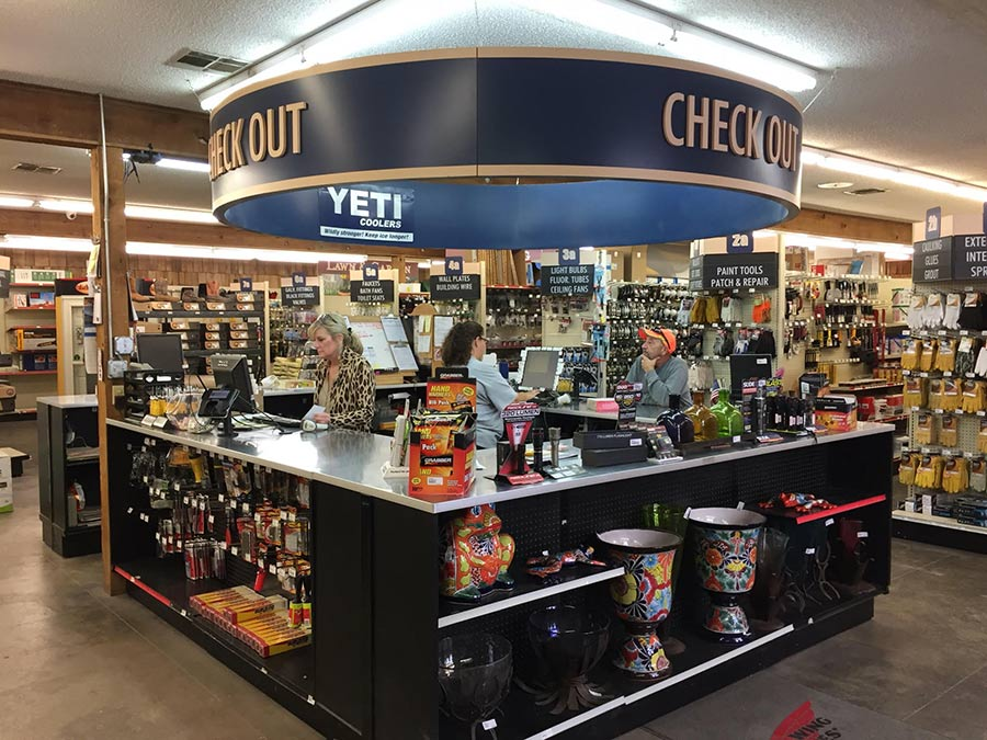 Bartlett's store in Dalhart features a prominent checkout and customer service counter.