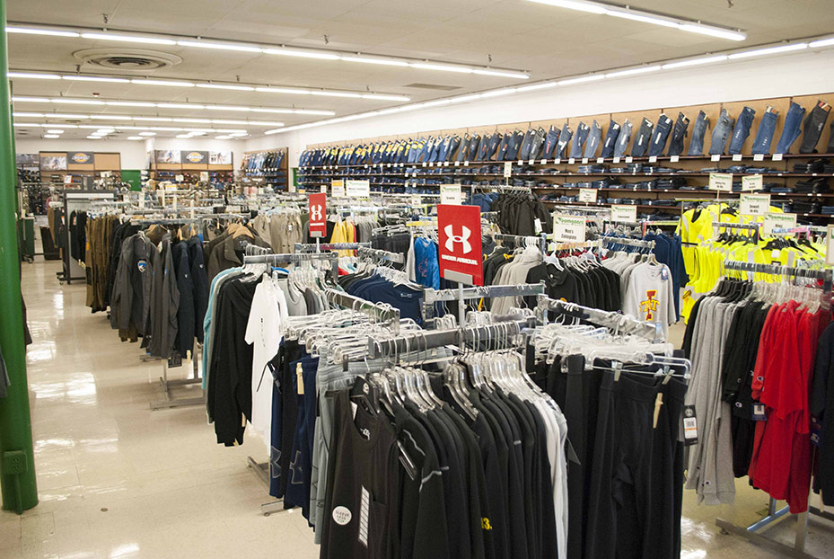 The clothing area has a department store feel and is divided into different clothing shops by brand.