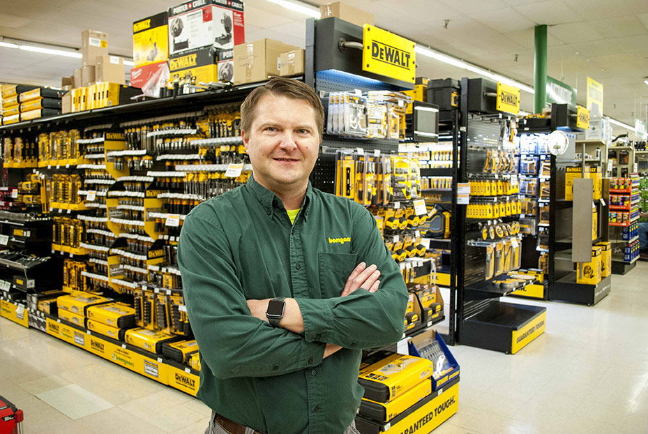 Five aisles are devoted to DeWalt products, turning the store into a destination for power tools and accessories.