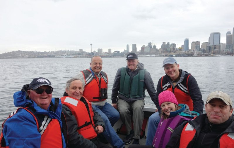 PIANC Working Groups tour Port of Seattle (l to r): Kevin Kane, Paul Scherrer and Victor Magar (both with PIANC WG 176), Burton Suedel, Rebecca Gardner, David Moore, and John Lally.